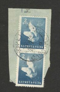 "CROATIA-YUGOSLAVIA-ITALY-FRAGMENT-TRISTE VUJA-BIRDS -NICE POSTMARK ""KOPER"" -1952"