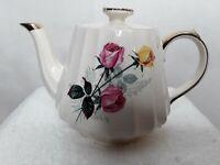 Vintage Sadler England Teapot w/ Pink & Yellow Roses Gold High Lights