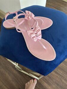 Chanel Rhinestone ruffle flat sandal pink Size 36 1/2 EUC