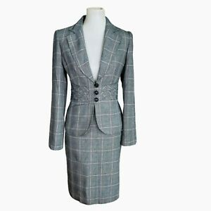 NINE WEST Gray Striped Single Breasted Polyester Rayon Lined Skirt Suit Size 6