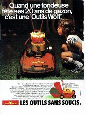 PUBLICITE ADVERTISING 027  1980  les Outils Wolf  tondeuse à gazon