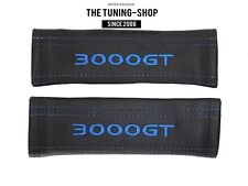 """2x Seat Belt Covers Pads Black Leather """"3000GT"""" Blue Embroidery for Mitsubishi"""