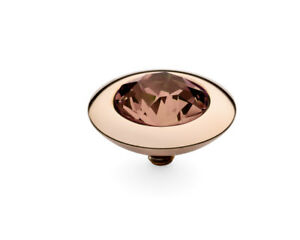 Qudo Famosa Ring- RoseGold/Plated-Interchangable Swarovski Crystals -13 mm Tondo