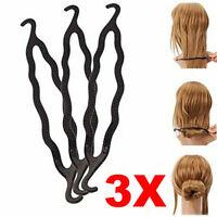 Magic Hair Twist Styling Clip Stick Bun Maker Braid Tool Hair Accessories 3PCS