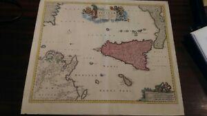 Antica Carta Geografica Settecentesca Sicilia, grandi dimensioni
