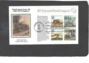 #2438 25c UPU CONGRESS SS FDC-WASHINGTON,DC NOV 28-1989 COLORANO SILK CACHET