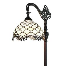 Tiffany Style Floor Lamp Bronze Adjustable Stained Glass Shade White Light