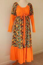 Gypsy Boho Prairie Dress Large Long Sleeved Hippie Peace Maxi Dress Orange Daisy