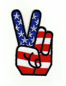 Ag75 Victory USA Flag Sew-On Iron-On Application Patch Peace Characters Kutte