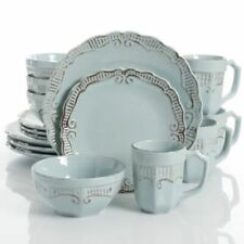 Gibson Home Havenwood 16-Piece Dinnerware Set with Service for 4 Stoneware Blue