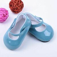 Blau Grün PU Leder Schuhe für 18 Zoll-amerikanische Mädchen-Puppe Kind-Spie J5B5