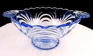 "CAMBRIDGE GLASS CAPRICE MOONLIGHT BLUE #300 3 1/4"" HANDLED MAYO BOWL 1937-1953"
