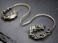 Earrings - Earrings - Indian Goddess - Tara - Sarasvati - Hindi - Boho Bronze