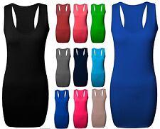 Ladies Long Racer Back Bodycon Muscle Vest Women Gym Maxi Top UK Size 4-22-rcr