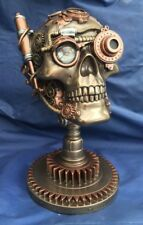 Skull Steampunk Sur Base Bionic Ocular Figurine LOOK Bronze 23 Nine Cm