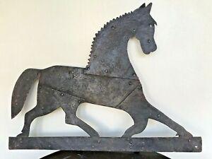 "28"" Antique Cast Iron Horse Trotting Figure Open Eye Topper Weathervane 21"" tall"
