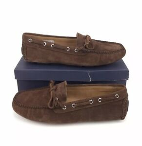 NEW Brooks Brothers Suede Driving Moccasin Shoes Dark Brown Mens Size 10.5 D
