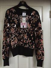 CHANEL 16C NEW TAGS Black Multicolor PULLOVER TOP Floral appliqué FR34-FR40 $6K