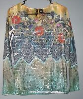 New Directions Shirt Top Blouse Floral Long Sleeve Womens Size S