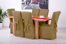 Set of 6 Sand Linen Fabric Dining Chair Covers for Scroll Top High Back Leather