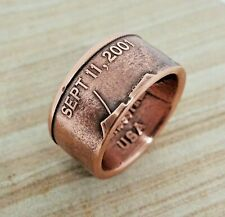 Copper Coin Ring - Sept 11 - Never Forget - Made from 1 AVDP ounce copper coin