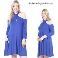 PLUS Size Blue BOHO Hippie Cold Shoulder Haute Jersey Swing Tunic Dress 1X 2X 3X