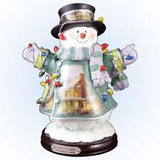 Thomas Kinkade Crystal Snowman Figurine Featuring Light-Up Village And Animation