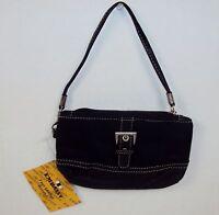 Embassy BLACK Faux Leather Wristlet ~ Mini Purse Wallet w/2-Way Strap NEW