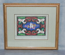 German Berlin Woolwork Hand Colored Print by Louis Glüer Ivy Calla Lilies