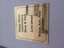 """Solid Brass Plaque size 100 x 100 approx 4"""" x 4"""" Engraved polished memorial"""