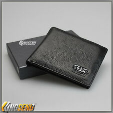 new AUDI Wallet Genuine 100% Cow Leather Bifold Men Slim Purse Car Pouch Gift