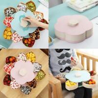 Petal-Shape Rotating Snack Candy Tray Food Storage Box Wedding Fruit Plates Case