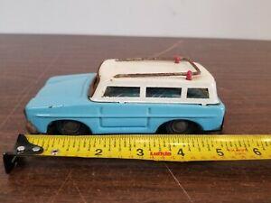 "Vintage Blue 5"" RAMBLER STATION WAGON TIN CAR FRICTION TOY Unknown Maker"