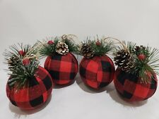 Christmas Buffalo Check Ball Holly Berries Black Red fabric Ornaments Set of 4