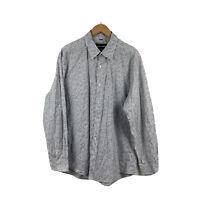Sportscraft Mens Shirt Long Sleeve Button Up Grey Floral Regular Fit Size Large