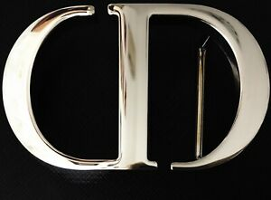 Authentic Large CHRISTIAN DIOR Montaigne CD Silver Finish Belt Buckle Accessory