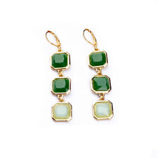 Fashion Green Topaz Yellow Gold Filled Women Wedding Jewelry Clip Earrings ME68