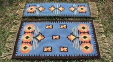 Vintage Native American Indian Style Eye Dazzler South Western Blue 2 Rug Set