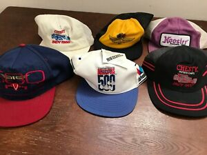 MENS VINTAGE LOT OF 6 INDY INDIANAPOLIS 500 SNAPBACK 90'S 80'S HATS 3 STRIPE