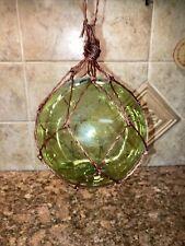 "New listing 5.5"" Green Glass Buoy Float Rope Nautical Ball Bouy Tiki Fishing"
