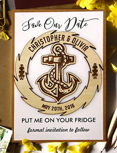 Rustic Wedding Save the Date Wooden Engraved Magnet Personalized -MG53