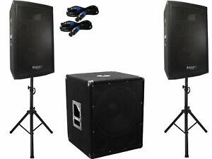 2.1 DJ PA Set Lautsprecher Anlage Aktiv Subwoofer Komplett Boxen Set Beschallung