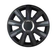 Ajuste de rueda de 15 Pulgadas Negro Carbón Set Conjunto de 4 Univers Tapacubos Cubre [MIRAG B]