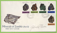 Zambia 1982 Minerals of Zambia Part II First Day Cover, signed by Designer