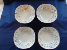 """Johnson Bros England """"Summer Chintz"""" 6"""" Square Cereal Bowls x4  Retired!!"""