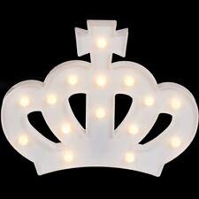 Weiße Kunststoff-Krone mit 15 warmweißen LED Lamp Lampe Leuchte ca. 29 x 22 cm