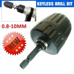 """Keyless Drill Bit Chuck Adapter with 1/4"""" Hex Shank for Impact Driver 0.8-10mm"""