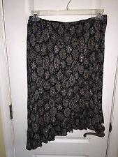 Donna Ricco NY Black Floral Career Formal Skirt Plus Size PETITE Women's 16