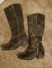 Donald J Pliner 'Devi 3' riding boots olive genuine leather 8.5 EUC