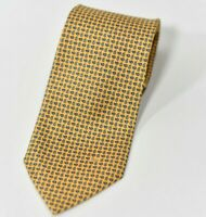 Lancel Paris Mens Yellow Blue Regular Neck Tie Paisley Pattern Vintage Silk